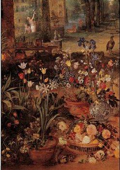 Impressão artística Jan Brueghel the Younger - Garden with flowers