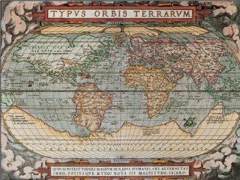Impressão artística Mapa-múndi histórico
