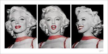 Impressão artística Marilyn Monroe - Red Dress Triptych