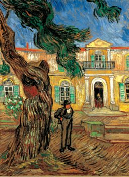 Impressão artística Pine Trees with Figure in the Garden of Saint-Paul Hospital, 1889