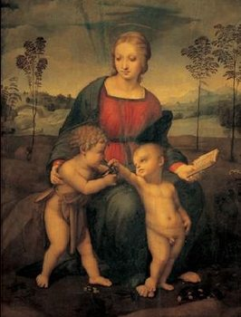 Impressão artística Raphael Sanzio - Madonna of the Goldfinch - Madonna del Cardellino