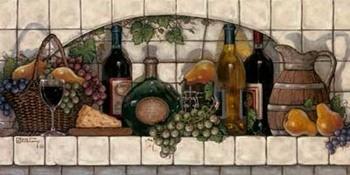 Impressão artística Wine, Fruit and Cheese Pantry