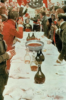 Reprodução do quadro A Banquet to Genet, illustration from 'Washington and the French Craze of '93' by John Bach McMaster, pub. in Harper's Magazine, 1897