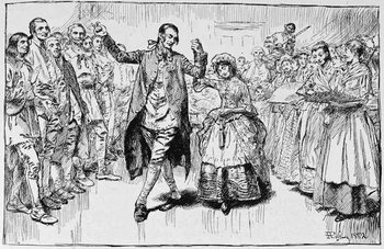 Reprodução do quadro A Kentucky Wedding, illustration from 'Building the Nation' by Charles Carleton Coffin, 1883