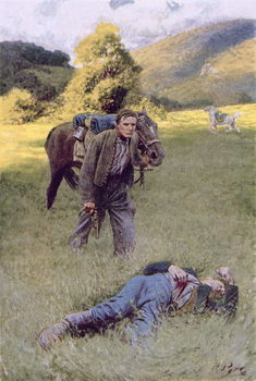 Reprodução do quadro A Lonely Duel in the Middle of a Great Sunny Field, illustration from 'Rowand' by William Gilmore Beymer, pub. in Harper's Magazine, June 1909