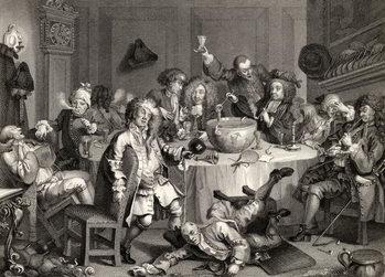 Reprodução do quadro A Midnight Modern Conversation, from 'The Works of William Hogarth', published 1833