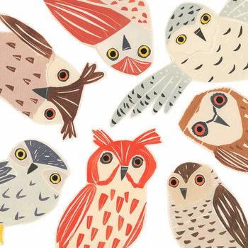 Reprodução do quadro A Parliament Of Owls, 2018, collagraph collage