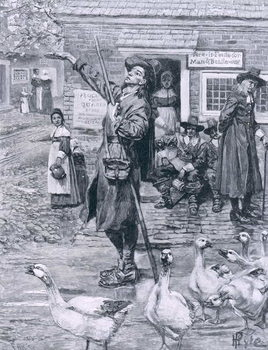 Reprodução do quadro A Quaker Exhorter in New England, illustration from 'The Second Generation of Englishmen in America' by Thomas Wentworth Higginson, pub. in Harper's Magazine, 1883
