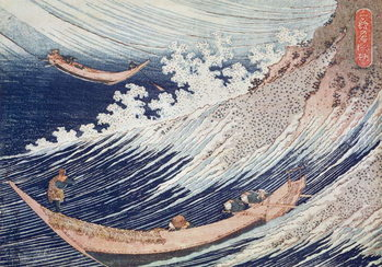 Reprodução do quadro A Wild Sea at Choshi, illustration from 'One Thousand Pictures of the Ocean' 1832-34