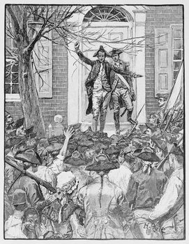 Reprodução do quadro Alexander Hamilton Addressing the Mob, illustration from 'King's College' by John McMullen, pub. in Harper's Magazine, 1884