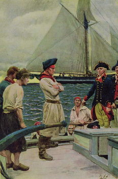 Reprodução do quadro An American Privateer Taking a British Prize, illustration from 'Pennsylvania's Defiance of the United States' by Hampton L. Carson, pub. in Harper's Magazine, 1908