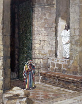 Reprodução do quadro And Jesus Was Left Alone and there was a Woman in the Midst, illustration for 'The Life of Christ', c.1886-94