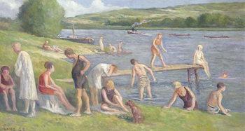Reprodução do quadro Bathers on the Banks of the Seine