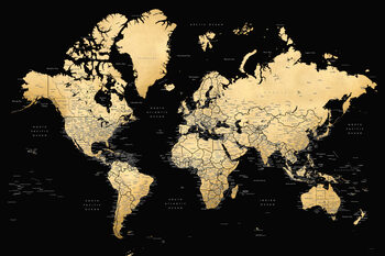 Ilustração Black and gold detailed world map with cities, Eleni