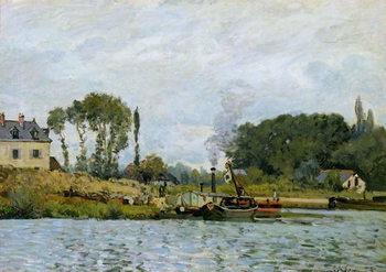 Reprodução do quadro Boats at the lock at Bougival, 1873