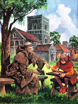 Reprodução do quadro Boy learning in Norman times