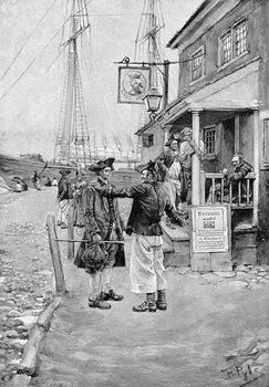 Reprodução do quadro Brownejohn's Wharf, New York, illustration from 'Old New York Taverns' by John Austin Stevens, pub. in Harper's Magazine, 1890