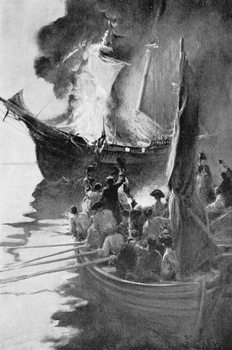 Reprodução do quadro Burning of the 'Gaspee', illustration from 'Colonies and Nation' by Woodrow Wilson, pub. in Harper's Magazine, 1901