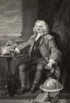 Reprodução do quadro Captain Thomas Coram, engraved by Benjamin Holl, from 'The Works of Hogarth', published 1833