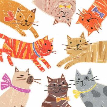 Reprodução do quadro Cats,Cats Cats, 2018, collagraph collage