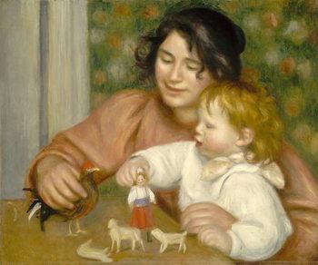 Reprodução do quadro Child with Toys, Gabrielle and the Artist's son, Jean, 1895-96