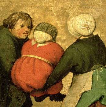 Reprodução do quadro Children's Games (Kinderspiele): detail of a child carried by two others, 1560 (oil on panel)
