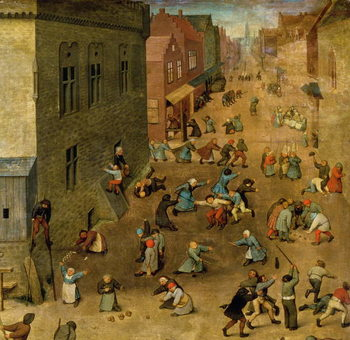 Reprodução do quadro Children's Games (Kinderspiele): detail of top right hand corner, 1560 (oil on panel)