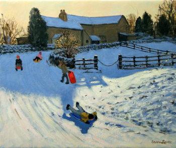 Reprodução do quadro Children Sledging, Monyash, Derbyshire