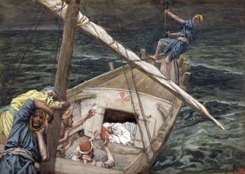 Reprodução do quadro Christ Asleep During the Storm, illustration for 'The Life of Christ', c.1886-94