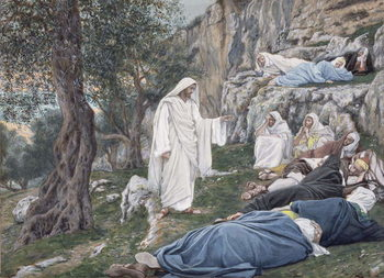 Reprodução do quadro Christ Commanding his Disciples to Rest, illustration for 'The Life of Christ', c.1886-94