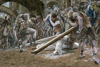 Reprodução do quadro Christ Falls Beneath the Cross, illustration for 'The Life of Christ', c.1884-96