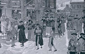 Reprodução do quadro Christmas Morning in Old New York Before the Revolution, illustration from Harper's Weekly, pub. 25th December 1880
