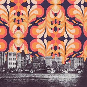 Reprodução do quadro Colorful sky above New York