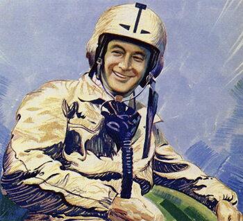 Reprodução do quadro Donald Campbell and Blue Bird held the land speed record briefly