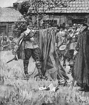 Reprodução do quadro Endicott Cutting the Cross out of the English Flag, illustration from 'An English Nation' by Thomas Wentworth Higginson, pub. in Harper's Magazine, 1883