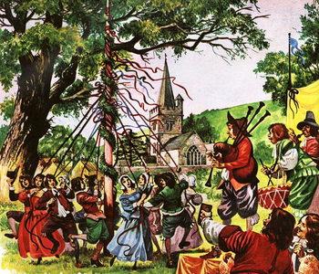 Reprodução do quadro England becomes merry again after the Restoration