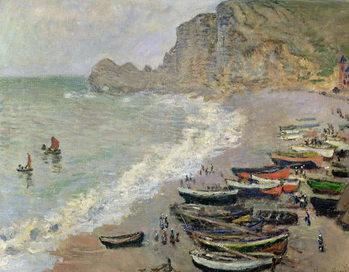 Reprodução do quadro Etretat, beach and the Porte d'Amont, 1883