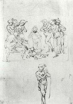 Reprodução do quadro Figural Studies for the Adoration of the Magi, c.1481