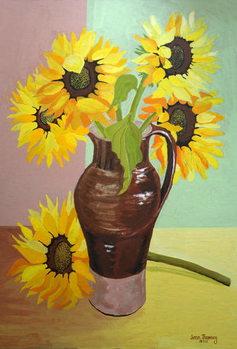 Reprodução do quadro Five Sunflowers in a Tall Brown Jug,2007