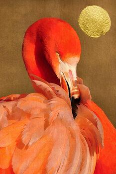Ilustração Flamingo With Golden Sun