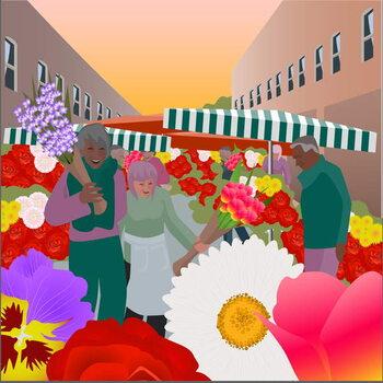 Reprodução do quadro Flower Market at Columbia Road