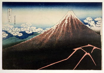 Reprodução do quadro Fuji above the Lightning', from the series '36 Views of Mt. Fuji' ('Fugaku sanjurokkei'), pub. by Nishimura Eijudo, 1831,