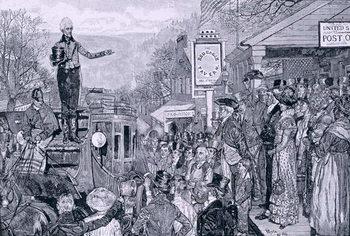 Reprodução do quadro 'General Jackson, president-elect, on his way to Washington', illustration from 'A Presidential Progress', pub. in Harper's Weekly, 1881