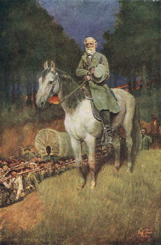 Reprodução do quadro General Lee on his Famous Charger, 'Traveller', illustration from 'General Lee as I Knew Him' by A.R.H. Ranson, pub. in Harper's Magazine, 1911