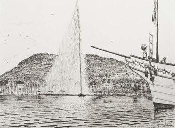 Reprodução do quadro Geneva fountain and bow of pleasure cruiser, 2011,