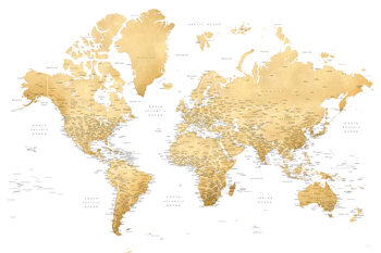 Ilustração Gold world map with cities, Rossie