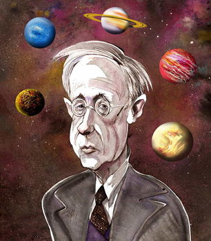 Reprodução do quadro Gustav Holst, British composer , version of file image with added planets, 2006 by Neale Osborne