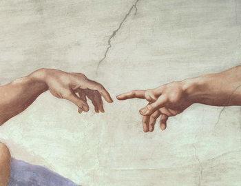 Reprodução do quadro Hands of God and Adam, detail from The Creation of Adam, from the Sistine Ceiling, 1511 (fresco)