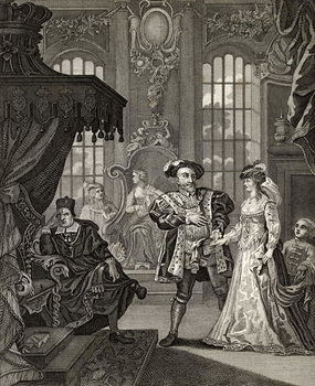 Reprodução do quadro Henry VIII and Anne Boleyn, engraved by T. Cooke, from 'The Works of Hogarth', published 1833
