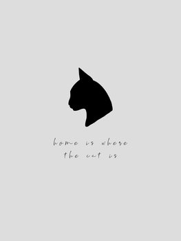 Ilustração home is where the cat is